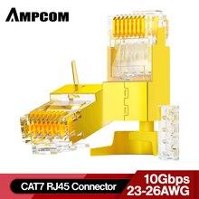 AMPCOM 2 parça CAT6A ve CAT7 korumalı RJ45 modüler fiş konnektörü 50μ 8P8C   RJ45 konektörü ağ kablosu konektörü
