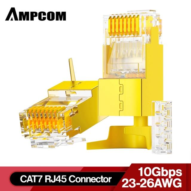 AMPCOM 2 sztuka CAT6A i CAT7 ekranowany RJ45 wtyczka modułowa złącze 50μ 8P8C   RJ45 złącze złącze kabla sieciowego
