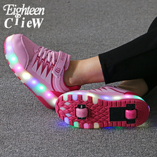 Size 28-40 Glowing Sneakers with Charging Switch Light Sneakers with Wheels Woman Sneakers on Wheels