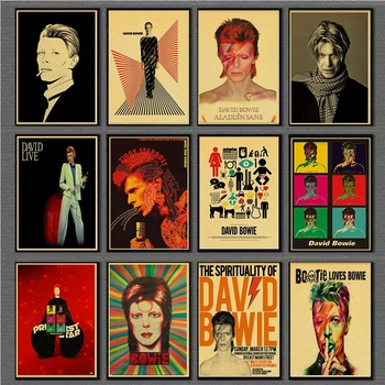 David Bowie Poster Retro Vintage Rock Music Kraft Paper Posters Rock Singer Wall Stickers Bar /room decoration wall decor image