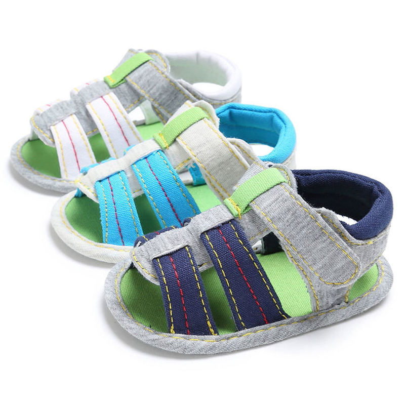 Baby Boy Girl Sandals Summer Green Toddler Newborn Cotton Soft Anti-Slip Sole First Walkers Crib Shoes For Infant Boy Outdoor