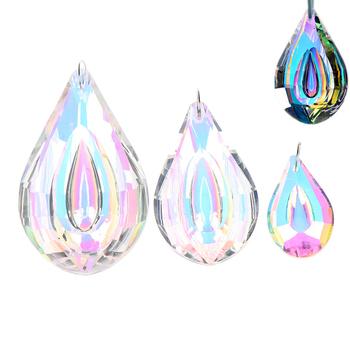 38 63 76mm kolorowe Suncatcher Art szklane krople żyrandol lampa wisząca części wiszące pryzmaty kryształ DIY wisiorek części tanie i dobre opinie HUXUAN