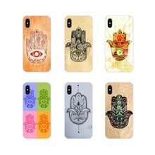 Ốp Da Dành Cho Iphone X XR XS 11Pro MAX 4S 5S 5C SE 6 6S 7 8 Plus iPod Touch 5 6 Henna Bàn Tay Hamsa Fatima Mary Ohm(China)