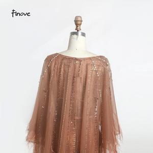 Image 5 - Finove בציר שמלת ערב ארוך 2020 חדש נובל שמפניה בת ים שמלת O צוואר חרוזים נוצות עם גלימת מסיבת שמלות בתוספת גודל