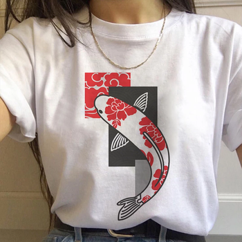 Japan Koi Fish Graphic Print T-shirt Women 2021 New Summer Fashion White Tops Tshirt Harajuku Aesthetic Vintage Female T Shirt