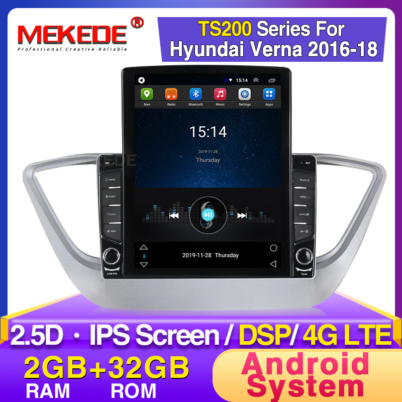MEKEDE For Hyundai Solaris 2 2017 2018 Car Radio Multimedia Video Player Navigation GPS Android DSP Support DVR Rear Camera