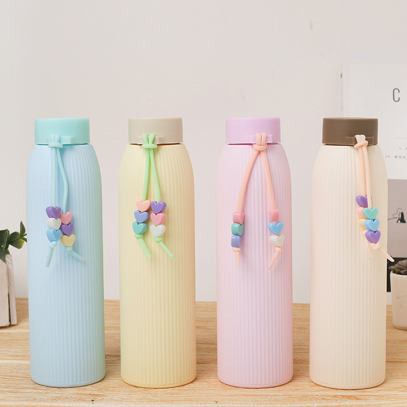 Fashion Solid Color Glass Water Bottle With Silicone Sleeve Handle Double Insulation Heat Resistant Leakproof Water Cup for Girl|Water Bottles|   - AliExpress