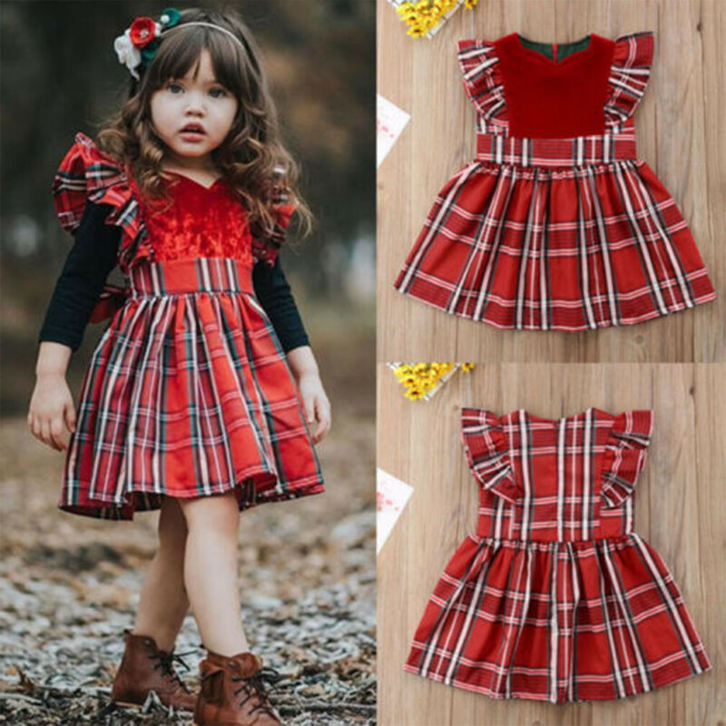 Toddler Baby Girls Plaids Clothes Party Pageant Formal Tutu Dress