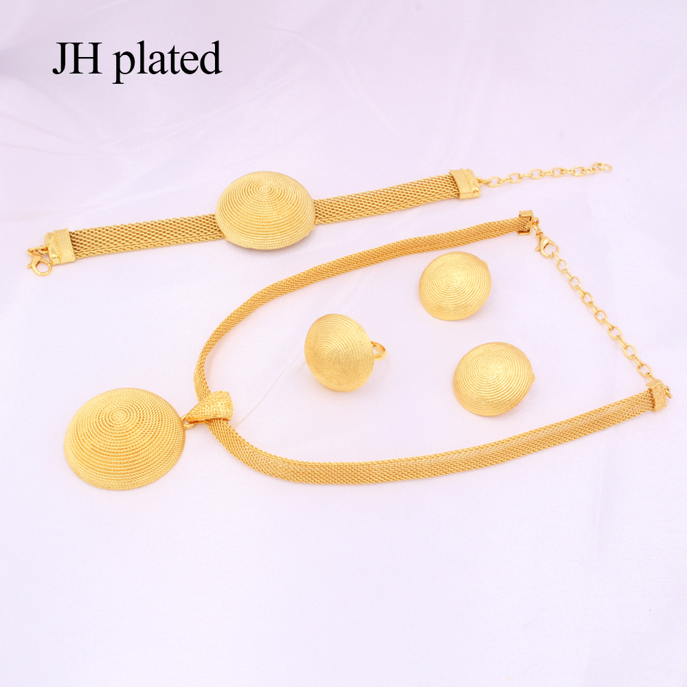 Jewelry sets African 24k gold for women Dubai bridal party wedding gifts Round Necklace Bracelet earrings ring set jewellery