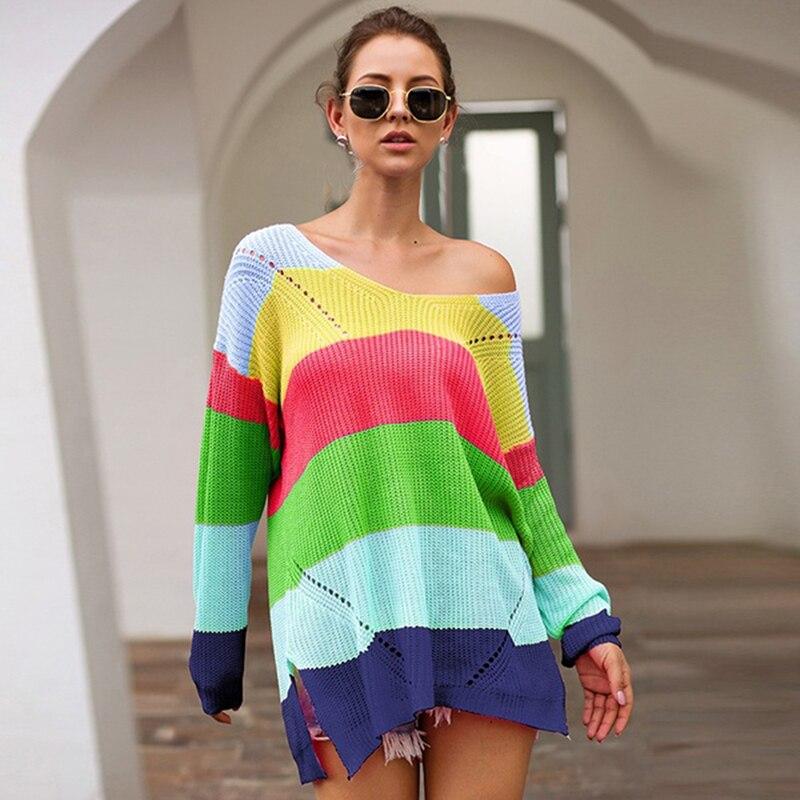 2020 горячая Распродажа Радужный женский свитер свободного покроя размера плюс разноцветный вязаный осенне-зимний пуловер полосатый