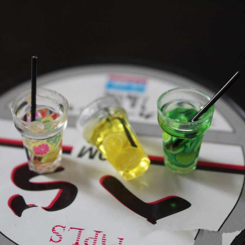 1/12 Dollhouse miniaturowe jedzenie Mini żywica butelka na owoce symulacja napoje zabawki modele napój owocowy zagraj w domek dla lalek akcesoria dla lalek