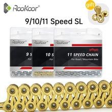Велосипедная цепь Rookoor, 9/10/11 скоростей, титановое покрытие, золотистая/Серебристая цепь для горного велосипеда MTB SL, полые цепи, 116 звеньев