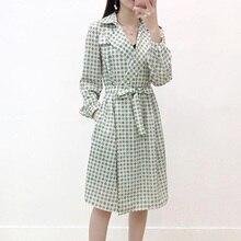 Green Plaid Trench Coat Women 2019 Fashion British Style New Elegant Winter Long-sleeved Windbreaker Pockets Designer