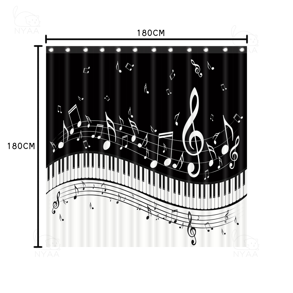 mildew waterproof shower curtain set with hooks piano key music note bathroom decor non slip rug toilet seat cover bath mats