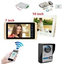 DIY 7 дюймов проводной Wi-Fi IP видео телефон двери дверной звонок Домофон Система с HD 1000TVL проводной камерой ночного видения