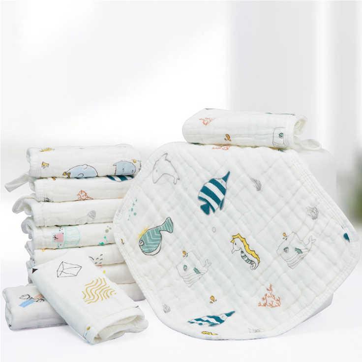 1 pieza de paños de eructo de alta densidad de wadoyoli 30*30CM 100% algodón de muselina 6 capas de colores impresos pañuelo suave toalla infantil