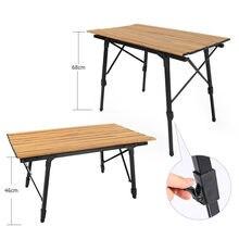 Acampamento ao ar livre mesa dobrável telescópica grão de madeira liga de alumínio mesa piquenique churrasco auto-condução mesa de viagem