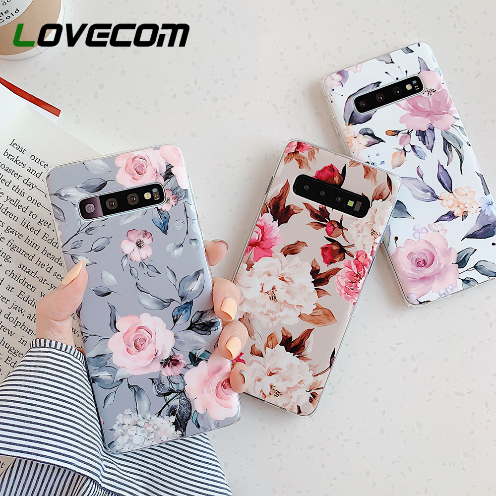 LOVECOM Phone <font><b>Case</b></font> For <font><b>Samsung</b></font> <font><b>Galaxy</b></font> Note 10 A50 A51 <font><b>A70</b></font> S10e S10 S8 S9 Plus Vintage <font><b>Flower</b></font> & Leaf Soft IMD Back Cover Coque image