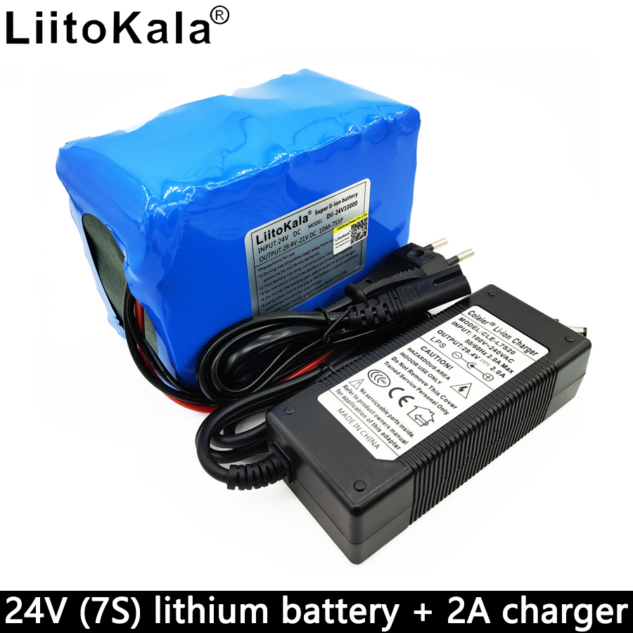 Liitokala 24V 10000mAh lithium <font><b>battery</b></font> <font><b>pack</b></font> 29.4V 10Ah <font><b>battery</b></font> <font><b>7S</b></font> 18650 bms 7S5P 15A discharge mechanical power supply image