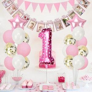 Image 2 - Heronsbill 1st שמח מסיבת יום הולדת קישוטי שלי ראשון תינוק ילד ילדה הליום מספר 1 בלונים באנר Cupcake Toppers ספקי