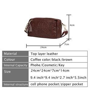 Image 3 - Bolsa de couro genuíno feminina mensageiro sacos bolsas de luxo bolsas femininas designer bolsa de ombro para as borlas crossbody saco