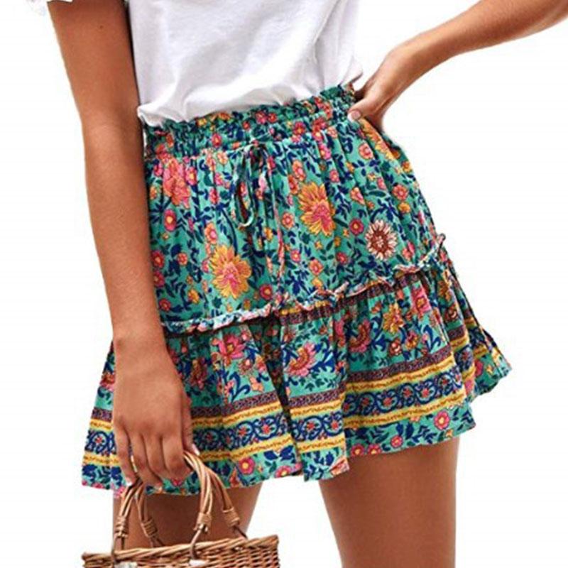 Women's Floral Flared Short Skirt Polka Dot Pleated Mini Skater Skirt with Drawstring 5