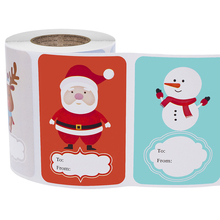 1 Roll (250pcs) 6 Designs Adhesive Christmas Gift Name Tags Present Seal Labels Christmas Decals Gift Package Xmas Stickers