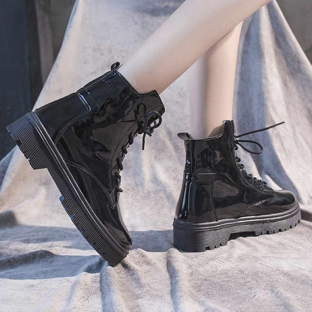 Bağcıklı Martin kısa çizmeler kadınlar Casual Slip-On kare topuk binicilik botları PU deri bayan ayakkabı patik botas mujer