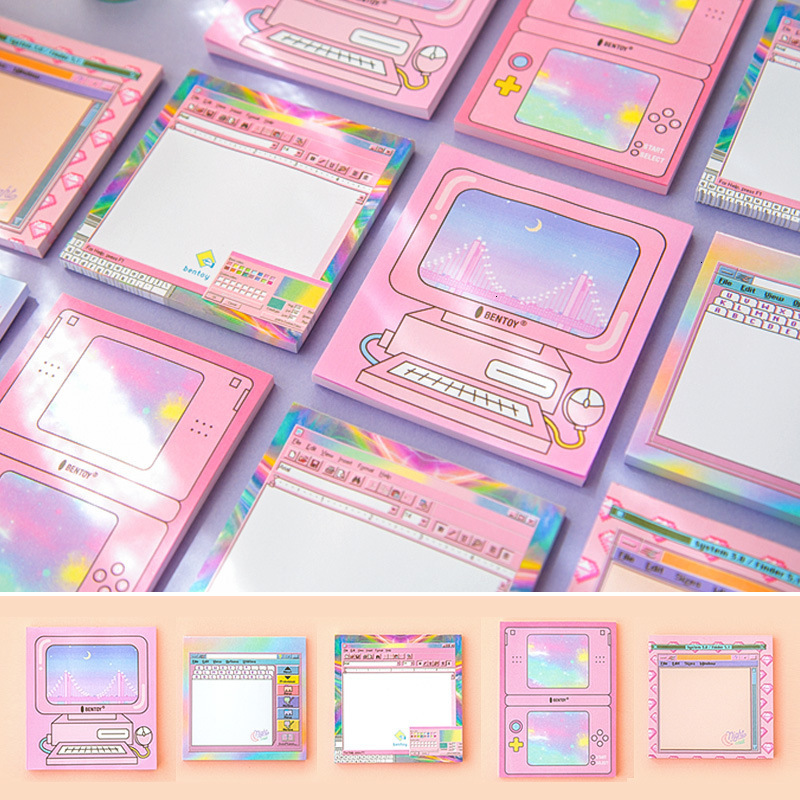 Kawaii Computer Game Memo Pad Machine Self-adhesive Planner Stickers Cute Sticky Notes Notepad School Stationery Supplies 01960