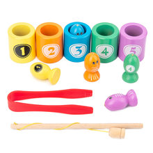 Montessori brinquedos de pesca classificando cor de madeira jogo de pesca magnética bebê aprendizagem contagem sensorial brinquedos educativos para crianças