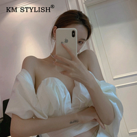 Women Fashion Shirts Sexy V neck Strapless Backless Blouses Bow Bandage Off shoulder High Waist Casual Draped Crop Top 3 Colors