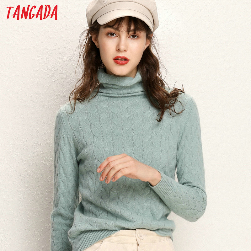 Tangada Winter 2019 Women Leaves Pattern Green Turtleneck Sweater Female Long Sleeve Elegant Office Ladies Solid Jumpers AQJ11
