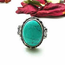 Nepal Vintage anillos para damas de cobre con incrustaciones simulado turquesas flor anillos anillo Oval R038