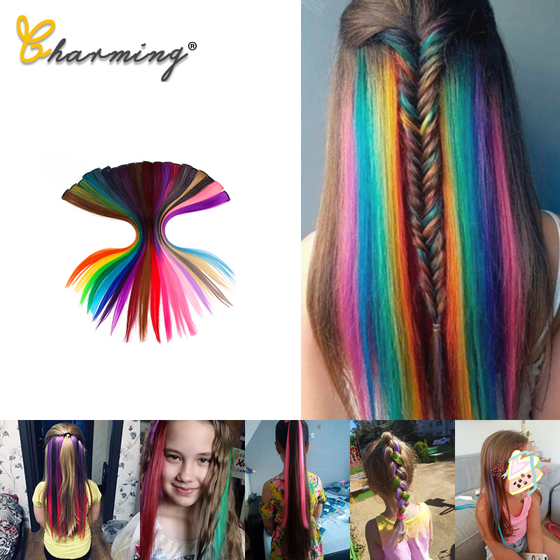 Очаровательные длинные прямые цветные волосы, 20 дюймов, накладные волосы на заколках, радужная полоска, розовые синтетические пряди волос н...