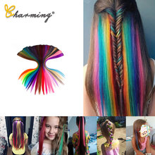 Charming extensão de cabelo reto longo, aplique de cabelo sintético de 20 polegadas, arco-íris, streak rosa