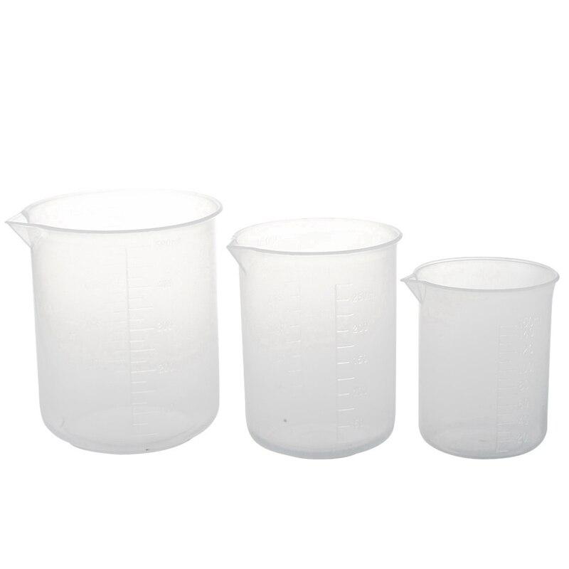 150 250 500 Ml Beaker Of Clear Plastic 3 Pcs. Measuring Cup Tool