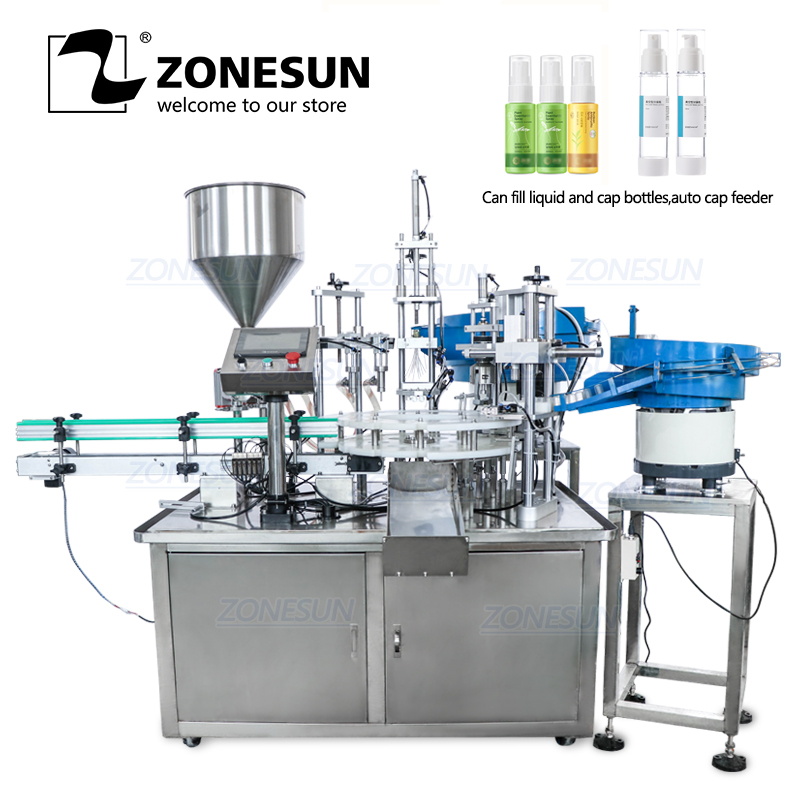 ZONESUN Desktop Plastic Glass Crystal Water Perfume Shampoo Cosmetic Nail Polish Bottle Automatic Filing Capping Machine