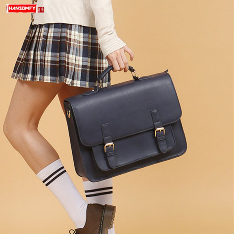 2019 New Women Handbag Business Briefcase Ladies Waterproof Laptop Bag Retro Pu Leather Shoulder Bag Female School Textbook Bags