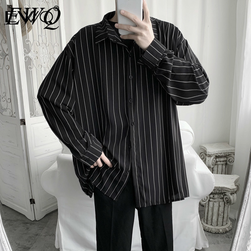 EWQ New Arrival Men Stripe Shirts 2020 autumn Men Long Sleeve Loose Shirt Male Oversized Top Shirt Sun Protection Clothing HD371