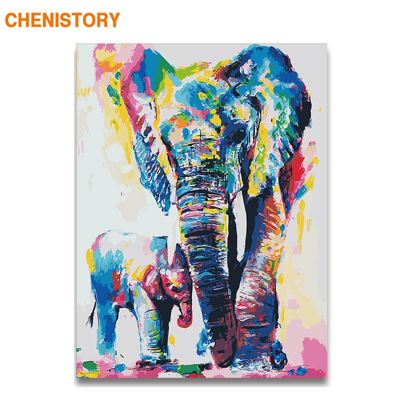 CHENISTORY Frame Picture By Numbers Animals Diy Painting By Numbers Kit Elephant Wall Art Picture Handpainted For Home Decors