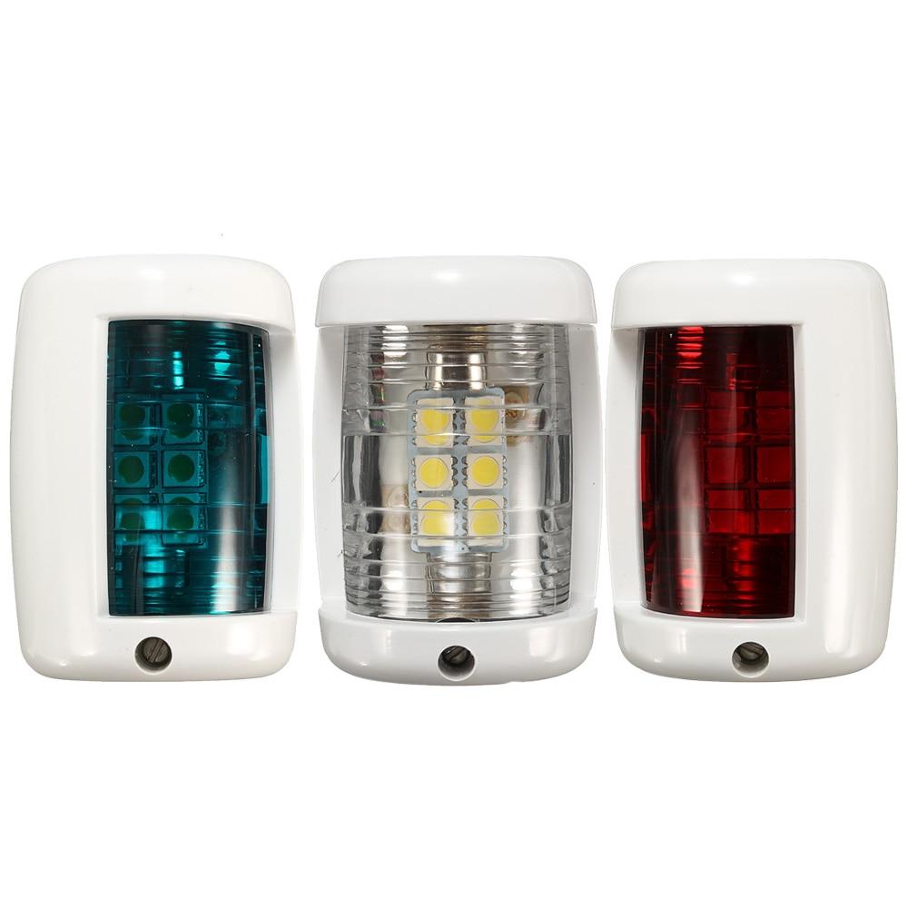 3pcs/set 12V Red Green LED Boat Navigation Light Signal Lamp White Sailing Signal Lamp For Marine Boat Yacht Starboard Port