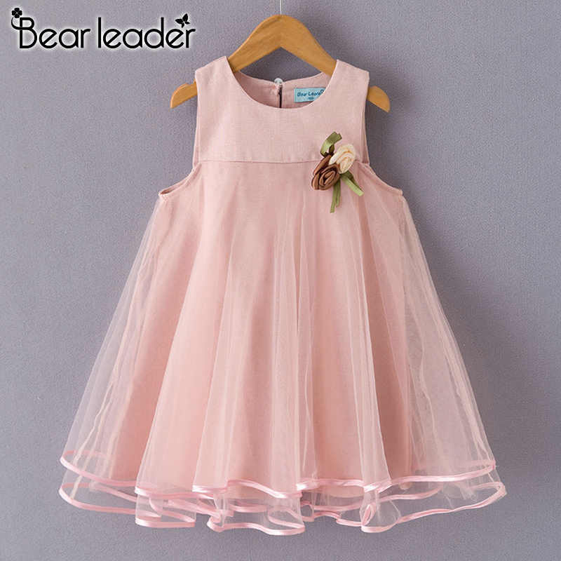 Bear Leader Girls Dress 2020 Brand Princess Dress Sleeveless Appliques Floral Design for Girls Clothes Party Dress 3-7Y Clothes