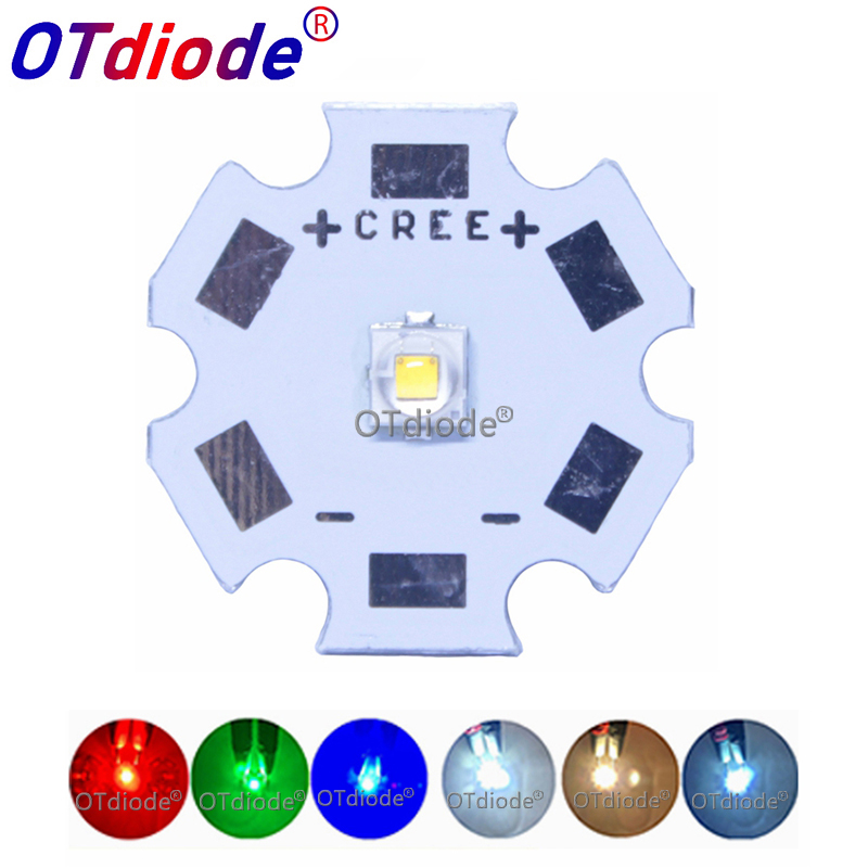 <font><b>Cree</b></font> 3W XPE2 XP-E2 High Power <font><b>LED</b></font> Emitter Diode on 8mm/ 12mm/ 14mm/ 16mm/ 20mm PCB, Neutral White/Warm White/Cool White Red Blue image