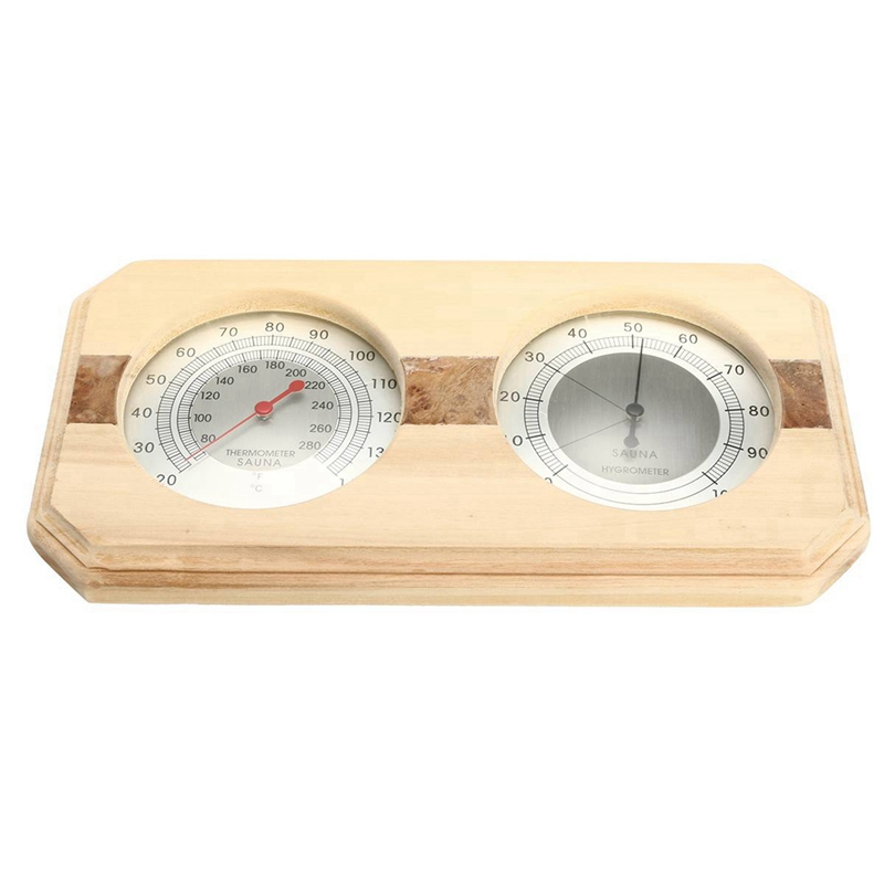 2 In 1 Sauna Room Wood Thermometer Hygrometer Steam Sauna Room Thermometer Instrument Humidity Meter Bath And Sauna Indoor Use   - title=