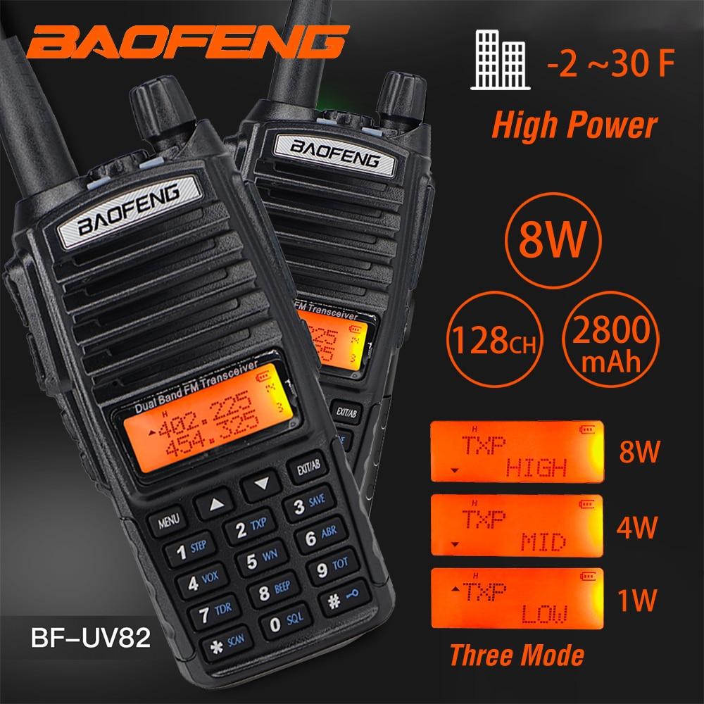 10km Baofeng Dual Band Walkie Talkie UV-82 FM Transceiver Portable CB Ham Radio 8W 2800mAh Super Penetration UV 82 Two Way Radio