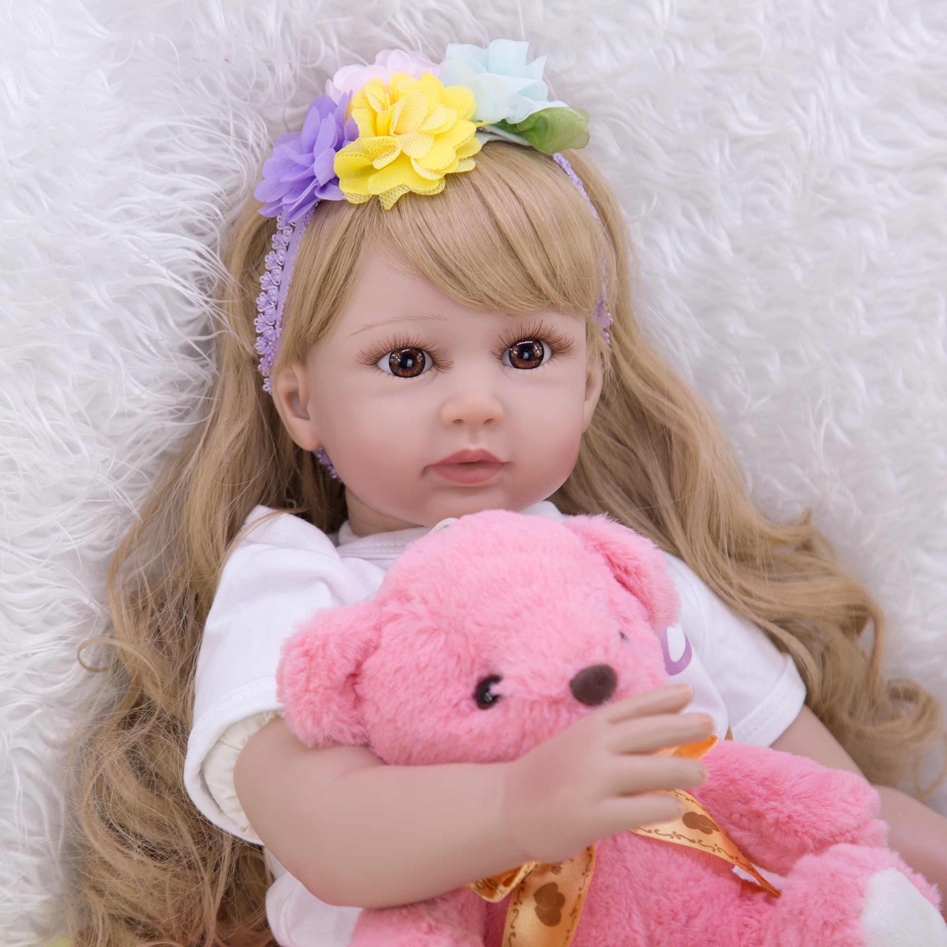 Silicone reborn bebê bonecas 60cm silicone vinil reborn bebê boneca brinquedos para menina crianças macio corpo feito à mão lifelike longo cabelo brinquedo