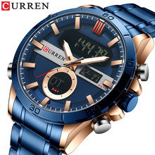 CURREN Men Designer Watches Luxury Watch Brand Sport Digital Wristwatches Multifunctional Electronic Clock Male Blue