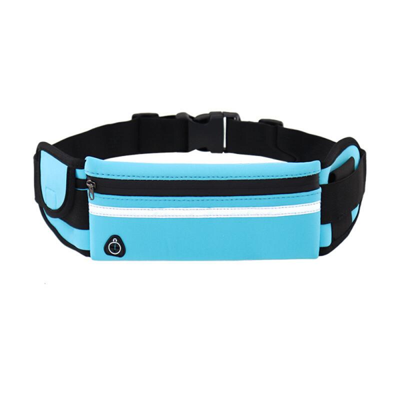 Running Waist Bags Waterproof Phone Container Jogging Hiking Gym Fitness Bag 3 Pocket Reflective Strip Design Running Belt Waist