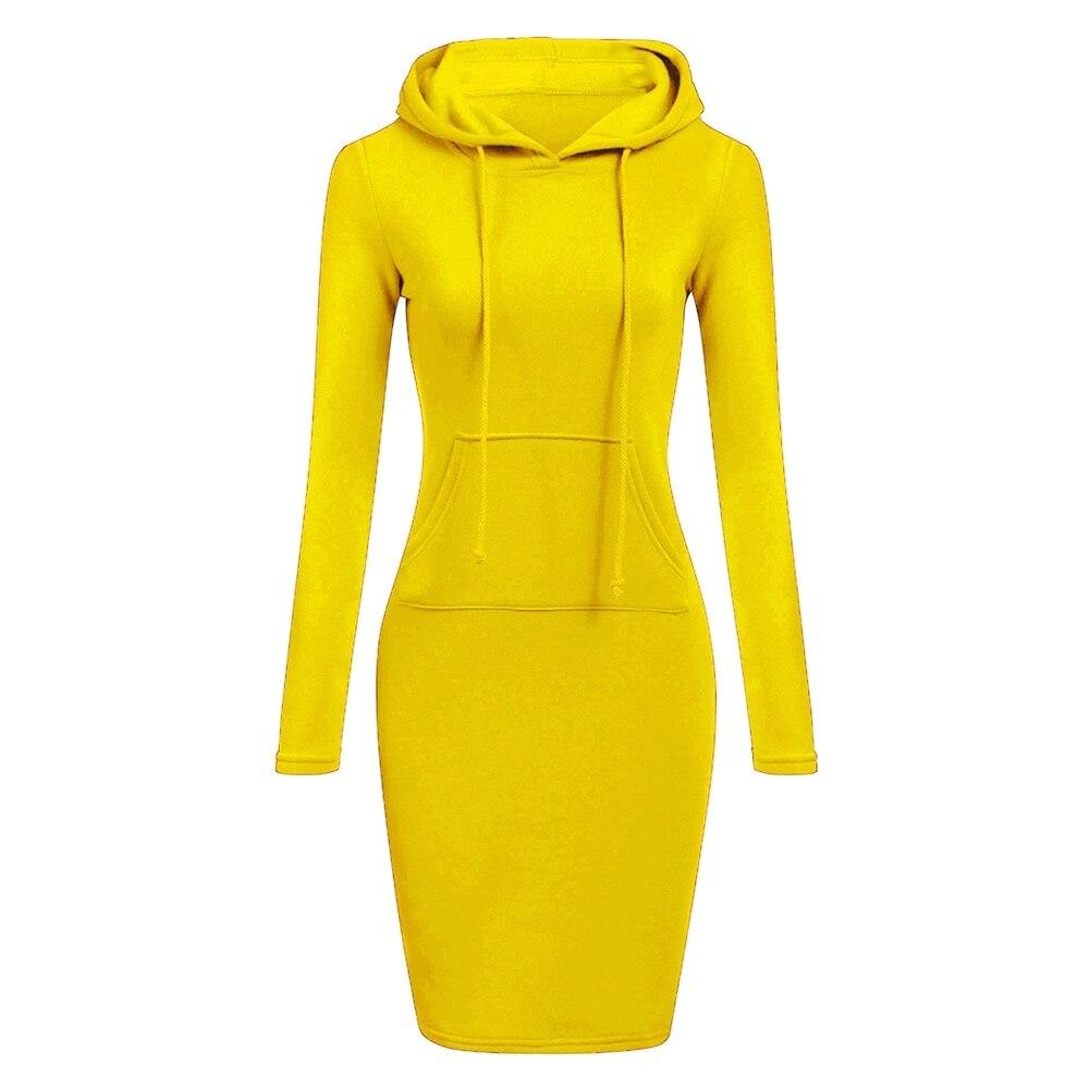 Autumn Winter Warm Sweatshirt Long-sleeved Dress Woman Clothing Hooded Collar Pocket Simple Casual lady Dress Vesdies Sweatshirt 5