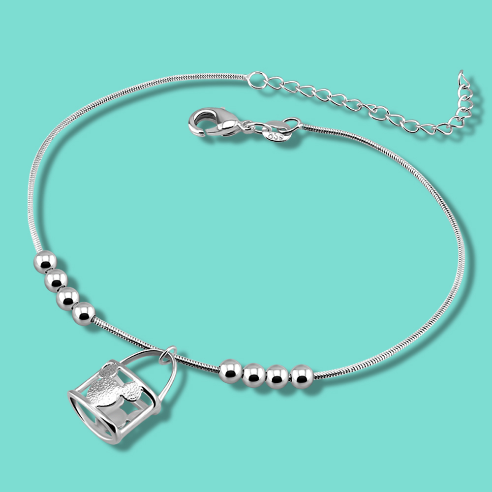 lady Solid silver anklets cute mickey pendant 925 sterling silver anklets summer women's Silver jewelry foot chain birthday gift